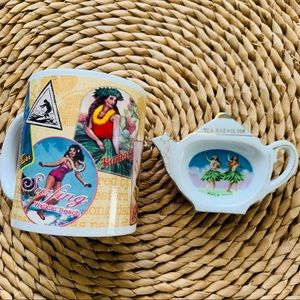 Vintage Hula Dancer Coffee Mug Teabag Holder
